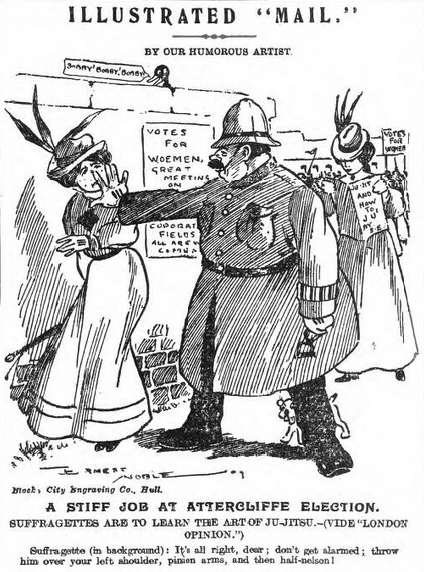 suffrajitsu cartoon Daily Mail Wednesday April 28 1909